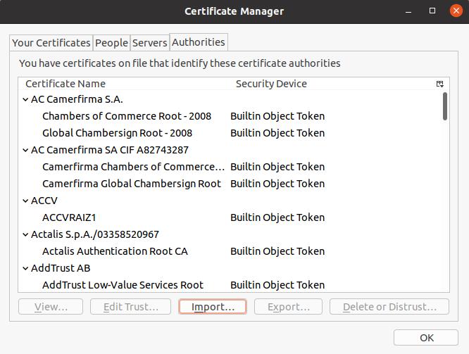 Thunderbird certificates window