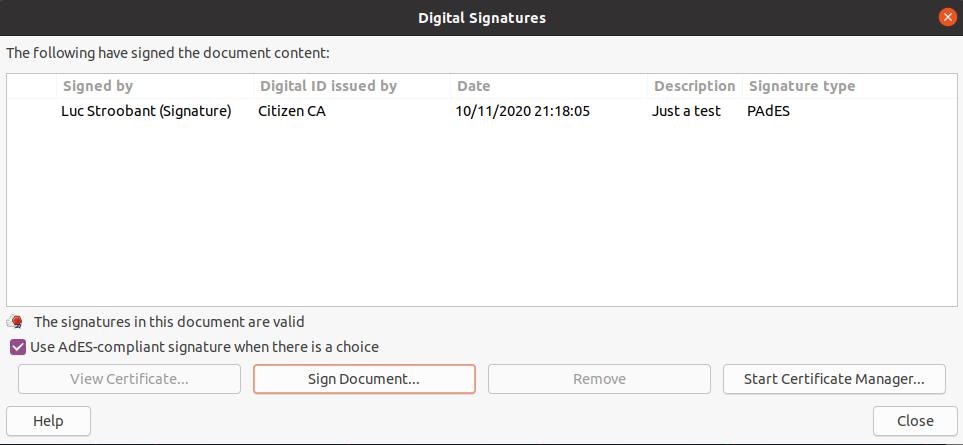 LibreOffice: eID signed document