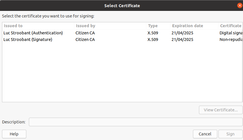 LibreOffice select eID certificate to sign